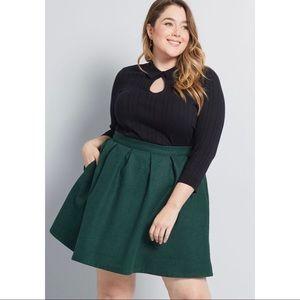 Modcloth Green Wool Mini Skirt